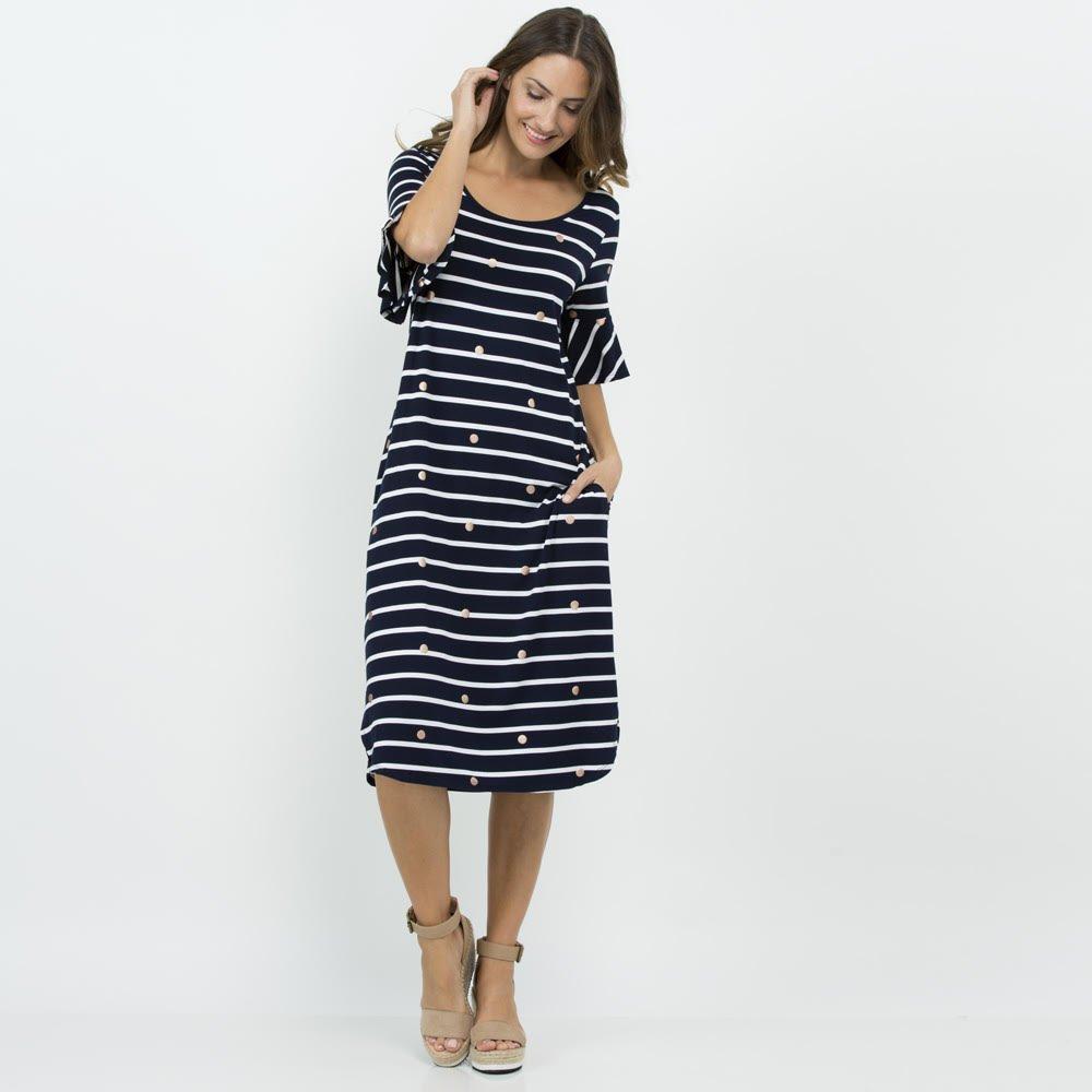 6cf91f1274 Threadz Dress Stripe Foil Spot - Women's Dresses | Yarntons | Free ...