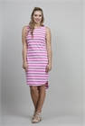Memo Dress S/L Stripe Slub Cotton