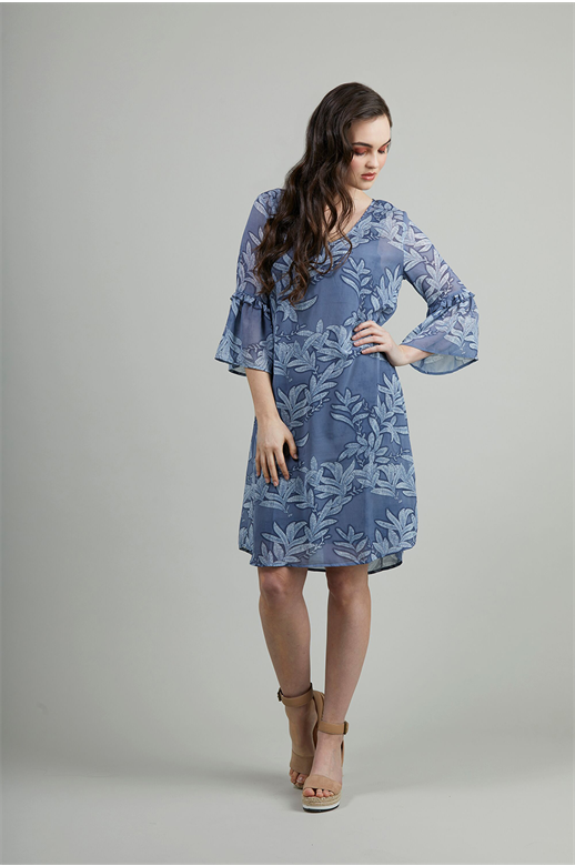 Siren Dress V Neck Frill Sleeve