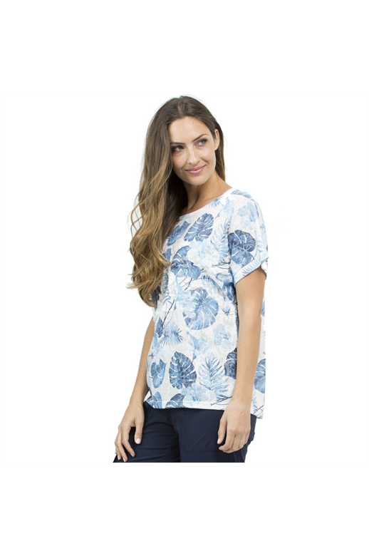 Threadz Top Leaf Print Lace Detail