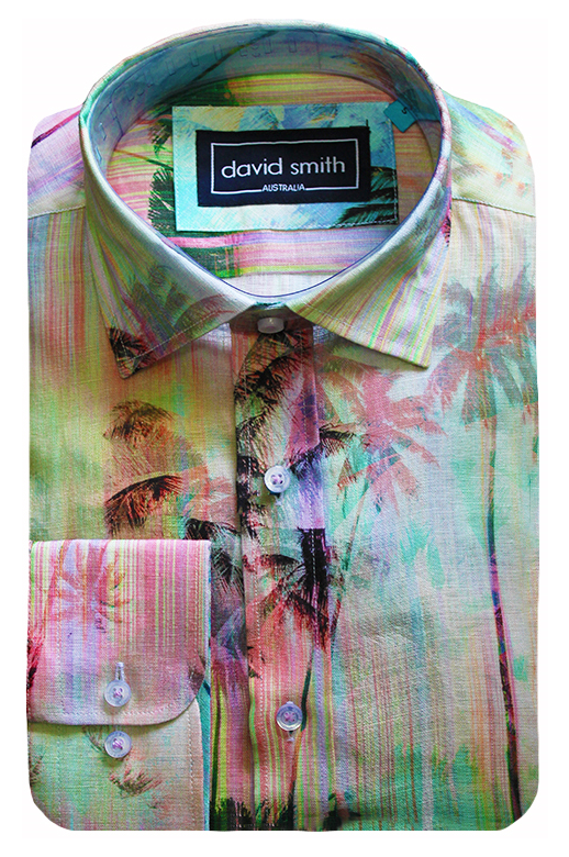 David Smith Shirt L/S Linen Palm Print