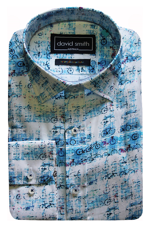 David Smith Shirt L/S Bike Print