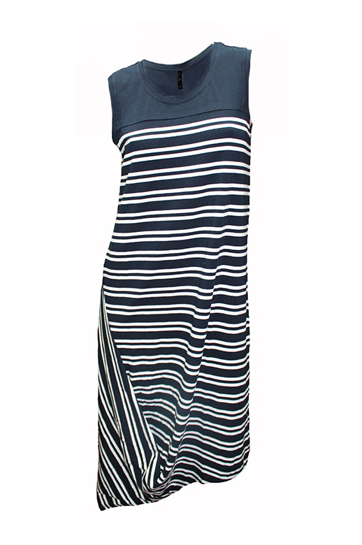 Foil Dress S/L Stripe Plain Yoke