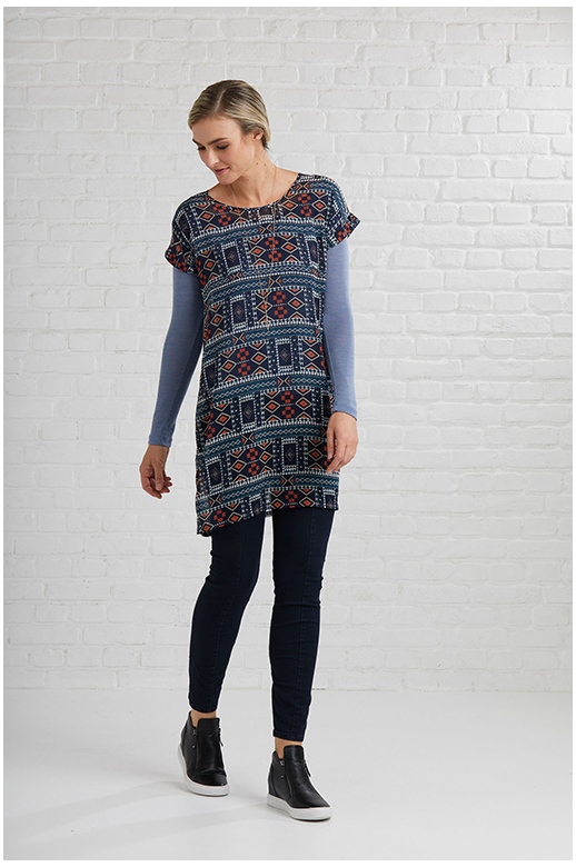 Memo Tunic Print Turn Up Cuff