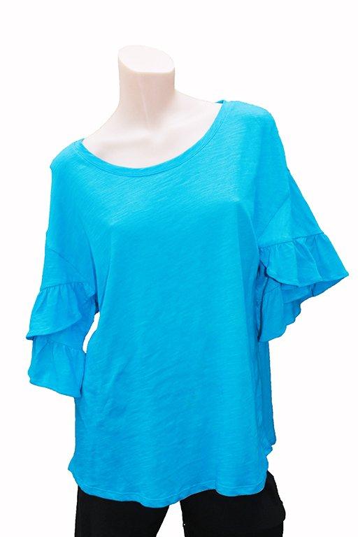 3e69602524a Foil Top T Frill Sleeve Plain - Women s Tops