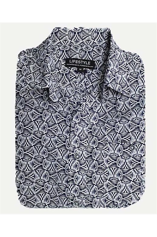 Lifestyle Shirt S/S Micro Bamboo Print